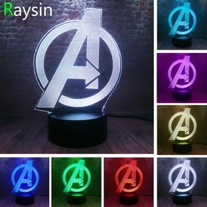 Image 1 - Creative The Avengers 4 Sign Model LOGO Super Hero Marvel Legends 3D RGB LED Night Light Kids Toys Xmas Gift Table Bedroom Decor
