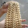 Clipe brasileira na Extensão Do Cabelo #613 Bleach Loira Kinky Curly grampo Em Extensões Do Cabelo Humano 7 pcs Brasileiro Clipe Ins JUFA cabelo