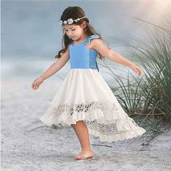Girls Pretty Kids Hollow Out Patchwork Asymmetrical Dress Fly Sleeve Halter Backless Summer Toddler Infant Lovely Baby Dresses фото