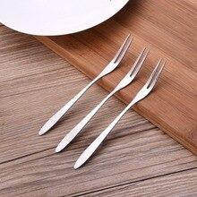 New! 3 pcs/set Stainless Steel Fruit Fork Cutlery Dessert Fruit Forks For Home Flatware For Fruit Salad  13 * 0.12 * 0.9 cm