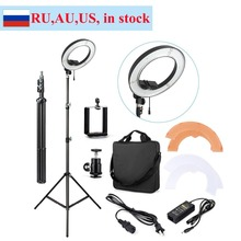 ES180 180 LED 13″ Stepless Adjustable Ring Light Camera Photo Video Port + Light Stand + Phone Clamp + Tripod Head + carry bag