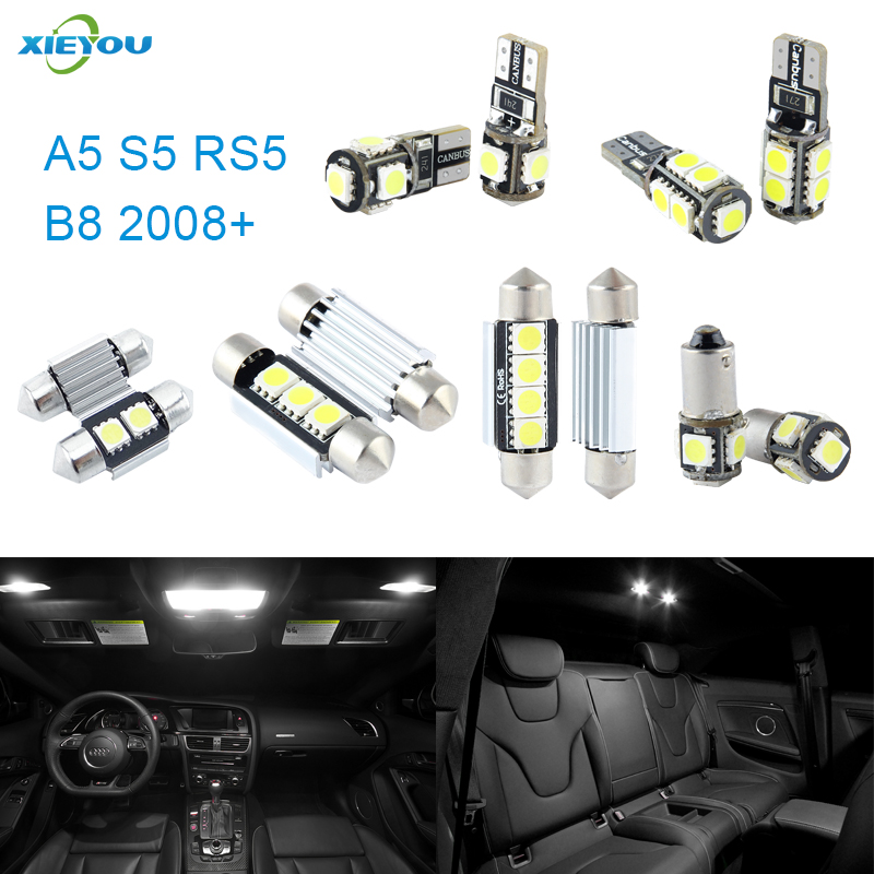 XIEYOU 12pcs LED Canbus Interior Lights Kit Package For Audi A5 S5 RS5 B8 (2008+) free shipping 11x vw golf 5 gt 2003 2008 white led lights interior package kit canbus 107