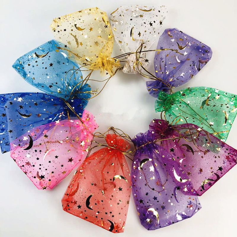 10pcs Small Organza Bags Charms Earrings Jewelry Packaging Bag Wedding Party Decoration Drawable Gift Bags Pouches 10 Colors