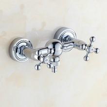 Grifo macizo de latón cromado de plata Vintage Base tallada en dorado pulido doble manija Mh-35 de grifo de lavadora caliente y fría