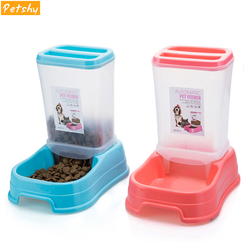 Petshy Pet Automatic Feeder Dog Cat Food Bowl Removable Plastic Kitten Puppy Feeding Dish Dispensers For Small Medium Cats Dogs