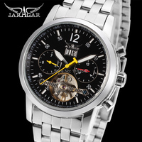2014 Jargar New Automatic Men Fashion Tourbillon Silver Watch With Stainless Steel Band Shipping Free