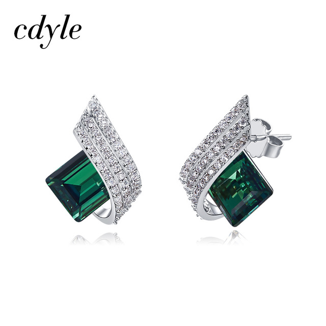 Cdyle 925 Sterling Silver Square Embellished with crystals Piercing Stud Earrings Women Brincos Boucle D'oreille