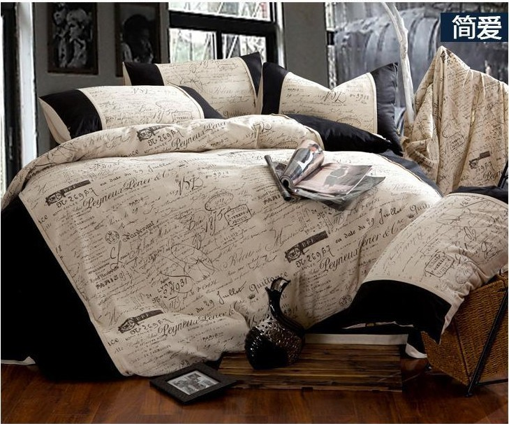 Linen vintage black and white bedding comforter set queen ...