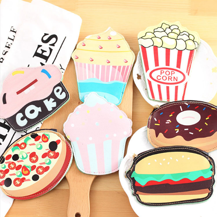 Fashion Women Girl PU Leather Coin Purse Portable Mini Cute Zipper Change Purse Cake Cream Cheese Burger Popcorn Wallet Bag 2017creative cute cartoon coin purse key chain for girls pu leather icecream cake popcorn kids zipper change wallet card holder