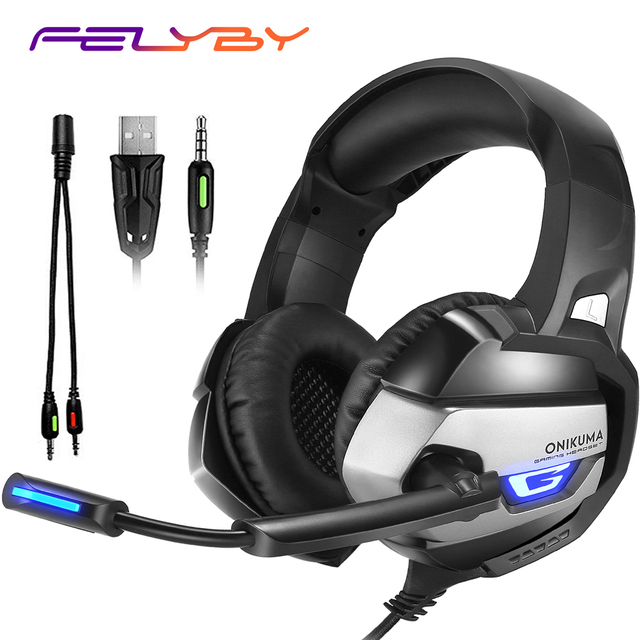 FELYBY Audio Gaming Headset Headphone with LED Lights & Noise-canceling Microphone for Computer PS4 & Xbox One (Adapter Need)