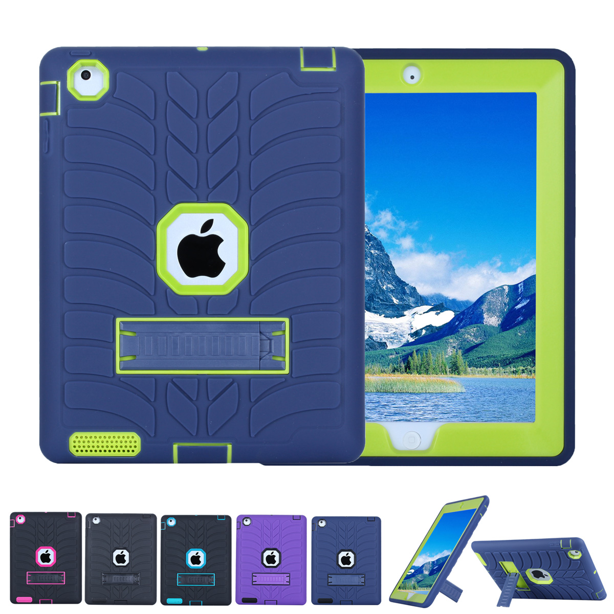 Shockproof Case for Apple iPad 4/iPad 3/iPad 2 Kids Friendly Anti-Scratch Anti-Slip Armor Protective Hard Back Tablet Case Cover