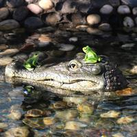 Alligator Head Decoy Pond Float Simulation Doll Garden Crocodile Head Floating Pond Ornament Drives Ducks For Pool Pond Garden