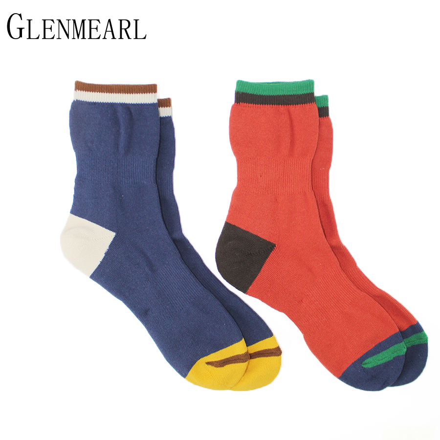 4 pair/Lot Cotton Terry Men Socks Brand Fall Winter Business Coolmax Thick Warm Striped Colorful Happy Dress Male Crew Socks