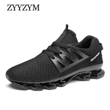 ZYYZYM Men Sneakers Light Casual Shoes Lace-Up Style Mesh Breathable Men Shoes Fashion Comfortable Male Footwear