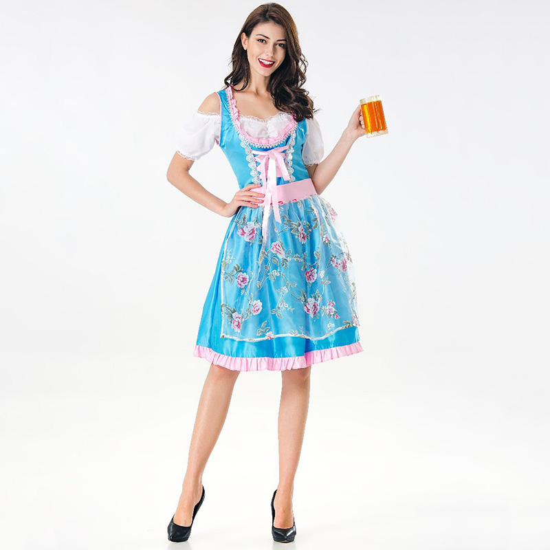 Green German Oktoberfest Costume Bavarian Dirnal Dress Beer Festival Party Sexy Maid Uniform Halloween Cosplay Outfits for Women