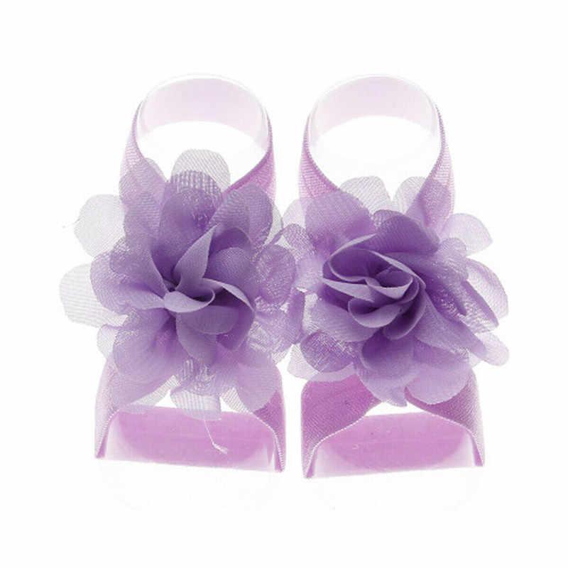 2019 Bebê Recém-nascido Meninas Flor De Pulso Banda Pé Descalço Sandálias Sapatos Verão Floral Bandagem Bandas Pé Bebe Crianças Bonito Da Foto prop
