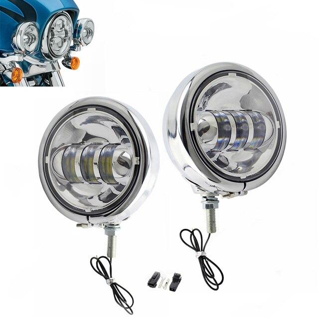 """4 1/2 """"4.5 אינץ LED עזר ספוט ערפל עובר אור מנורה עם שיכון טבעת הר Bracket עבור הארלי סיור אלקטרה Glide"""