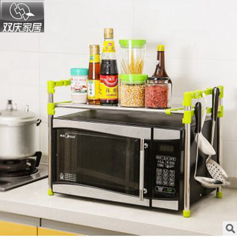 Բազմակողմանի դարակ ՝ երկակի շերտերով բարձրորակ միկրոալիքային վառարանով կամ վառարանների դարակներով խոհանոցի պահեստավորում և լոգարանի կազմակերպիչ