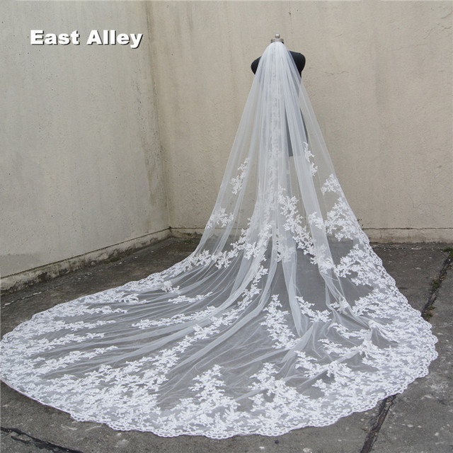 118 Long 110 Wide 1 Layer Lace Lique Wedding Veil Cathedral Length Bridal