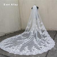 118 Long, 110 Wide 1 Layer Lace Applique Wedding Veil Cathedral Length Bridal Veil with Comb