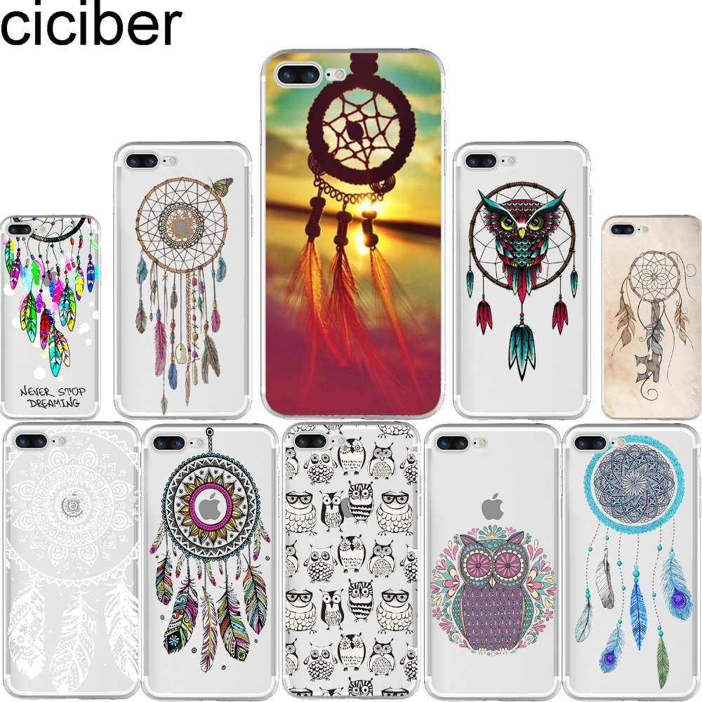 Galleria fotografica ciciber Dream Catcher Lovely Owls Pattern Soft Silicone Phone Cases Cover for Iphone 7 6 6S 8 Plus 5S SE X Capinha Coque Fundas