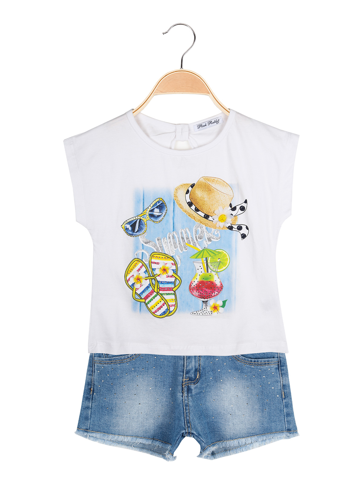 Print T-shirt + Shorts Jeans-full 2 Pieces Baby Girl
