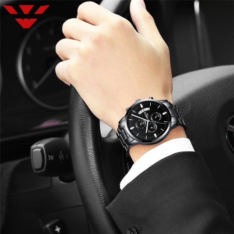 NIBOSI Waterproof Business Watches Men Luxury Brand Quartz Military Watch Leather Steel Men's Wristwatch relogio masculino 4
