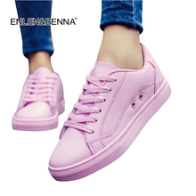 Large Sizes 2017 New Fashion Women Casual Shoes White Pink Leather Breathable Flat Shoes Zapatillas Deportivas Mujer Lace Up
