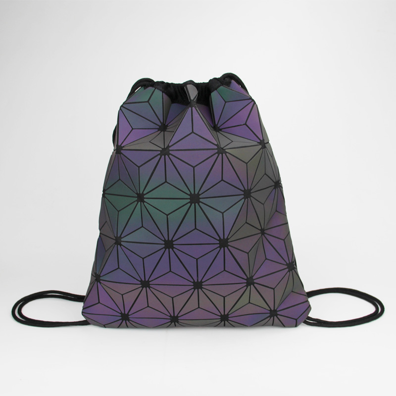 New Women Luminous Drawstring Backpacks Fold Shoulder Bags Beach Bag Girls Geometric Bagpack Holographic Backpack Purse