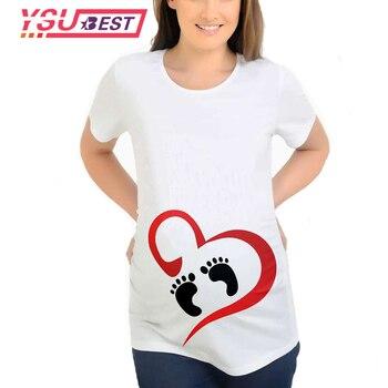 63f042148 De dibujos animados de moda amor pies Tops para mujeres embarazadas Tops de manga  corta con estampado huella camisetas divertido embarazo camisetas