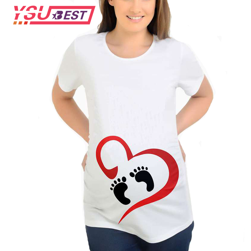 Fashion Cartoon Love Feet Tops For Pregnant Women Short Sleeve Maternity Tops With Print Footprint Tees Funny Pregnancy T Shirts Tops For Pregnant Women For Pregnantpregnant Top Aliexpress