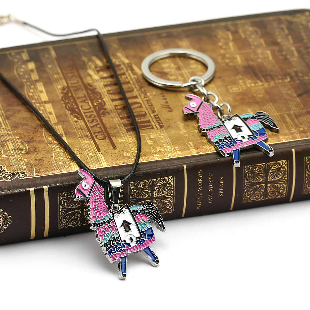 Battle Royale Alpaca Keychain Necklace Charm Pendants Metal Keyring for Men Accessory