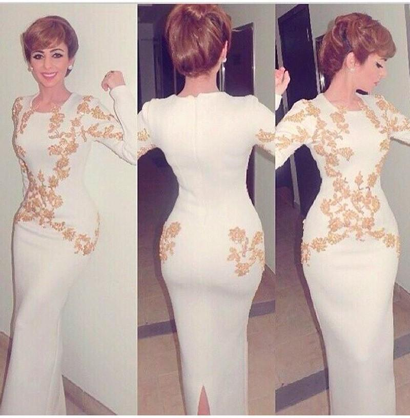 Arabic Mermaid Evening Dresses With Gold Embroidery O Neck Long Sleeve Women Evening Dress For Wedding Party Custom Made