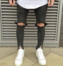 Мода уличной улица раздели сломанной отверстия мужчины джинсы, брюки с боковой zip дженас мужчины Проблемные Байкер джинсы MB17080