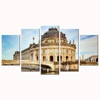 Hdキャンバス壁の装飾現代アーキテクチャベルリンのボルダー博物館アートプリントセット5ピースホーム装飾絵画モジュラー壁
