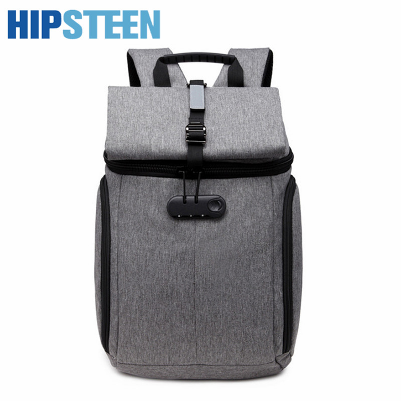 HIPSTEEN Fashion Canvas Men Backpack Travel Back Bags Folding Portable Male Business Bags Big With High Quality Hot Sale Grey