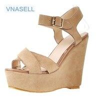 Vintage kayış takozlar hakiki deri burnu açık sandalet boyutu platformu yüksek topuklu ayakkabı BIZE boyutu 3 30 31 32 33 41 42 43