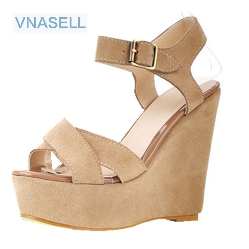 Vintage Strap Wedges Genuine Leather Open Toe Sandals Size Platform High Heels Shoes US Size 3