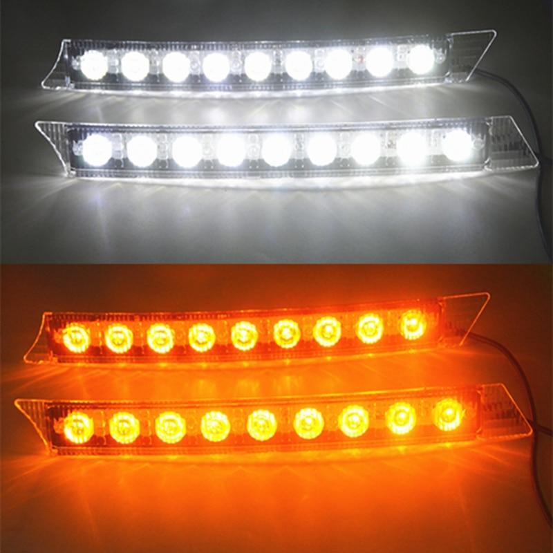 Free Shipping 2x Car 9led White Daytime Running Light Drl Amber Turn Signal Lamp 12v Turn Lights