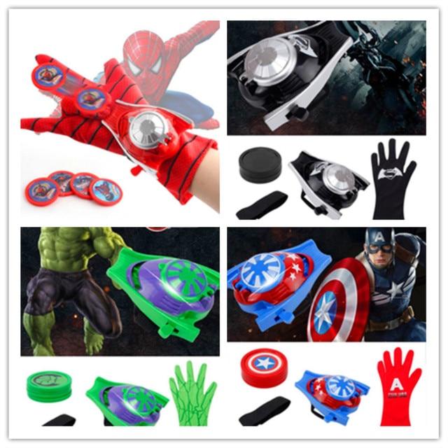 Maravilha Herói Cosplay Lançador Lançador de Brinquedos Luva Spiderman Capitão América homem De Ferro Hulk Batman Para Crianças Meninos Cos Fontes Do Partido