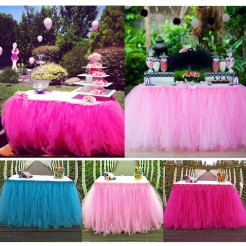 Image 2 - Tulle TUTU Table Skirt Tableware Wedding Party Xmas Baby Shower Birthday Decor-in Table Skirts from Home & Garden