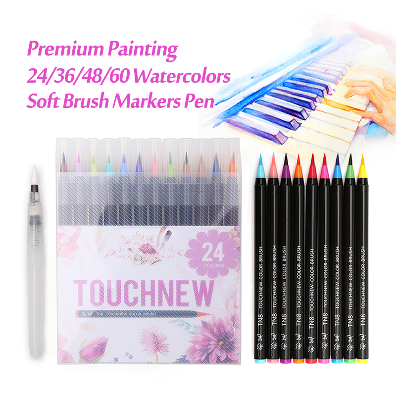 Touchnew 24 36 48 60Colors Watercolor Markers Pen Premium Painting Soft Brush Marker Set For Drawing Manga Comic Art Supplies 20 color premium painting soft brush pen set watercolor art copic markers pen effect best coloring books manga comic calligraphy
