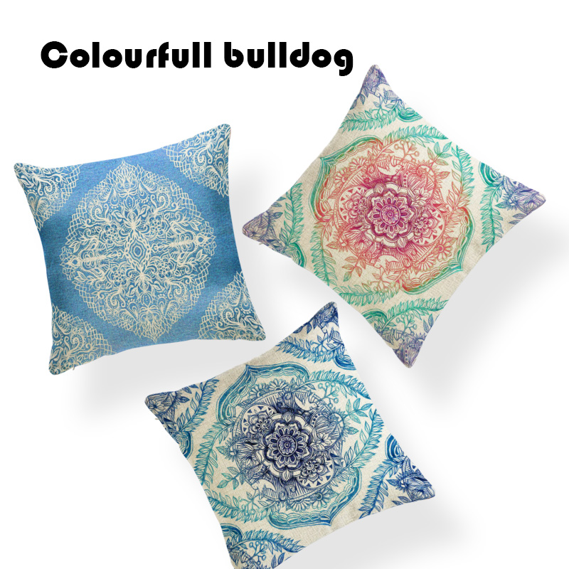 Industrial Meditation Mandala Cushion Cover Geometric Pillow Covers Totem Bubble Chair 17 Polyester Scatter Thanksgiving Pillows
