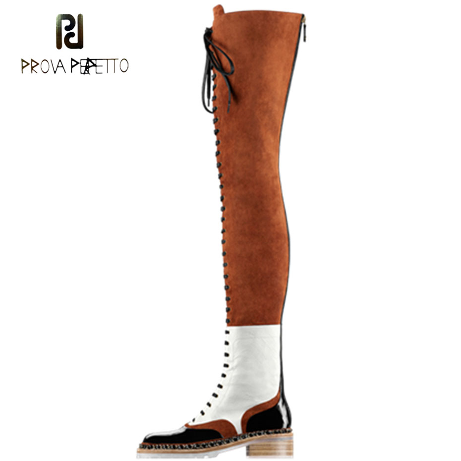 Prova Perfetto fashion over the knee boots women metal chain cross tied low heel martin boots suede leather patchwork long bootsProva Perfetto fashion over the knee boots women metal chain cross tied low heel martin boots suede leather patchwork long boots