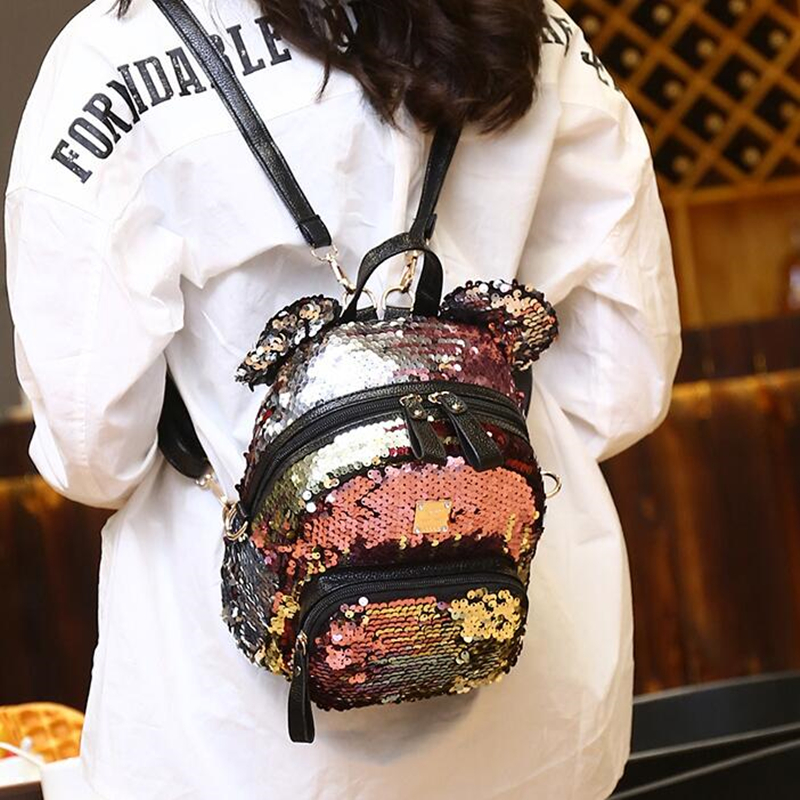 Mini Sequins Backpack Cute Mickey Ears Shoulder Bag For Women Girls Travel Bag Bling Shiny Backpack Mochila Feminina Escolar New 2017 small fresh mini shoulder bag with three pairs of ears can replace the small backpack cute modeling trend backpack y088