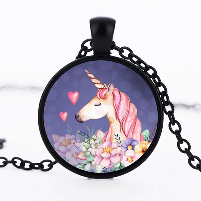 Cute Pink Unicorn Glass Cabochon Pendant Necklace Gifts
