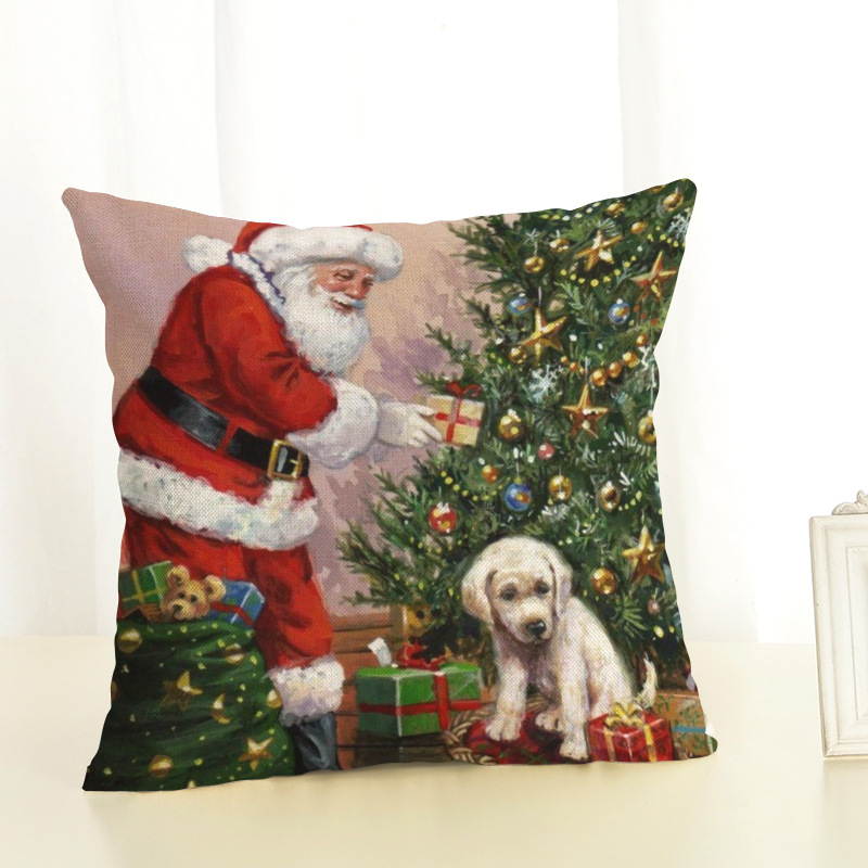 New Year Christmas Decorations For Home Christmas Pillow cover Santa Claus and Dog Cotton Linen Pillowcase Office Home Cushion (4)
