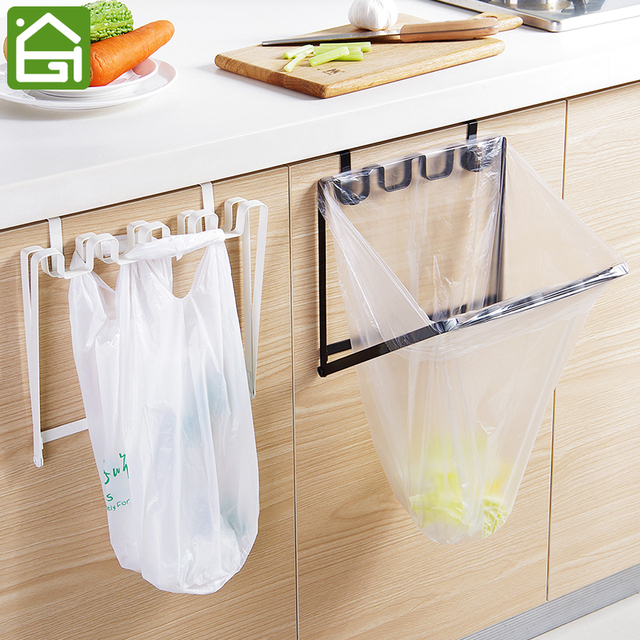 Foldable Sy Iron Over Cabinet Door Garbage Bag Organizer Rack Kitchen Plastic Trash Holder