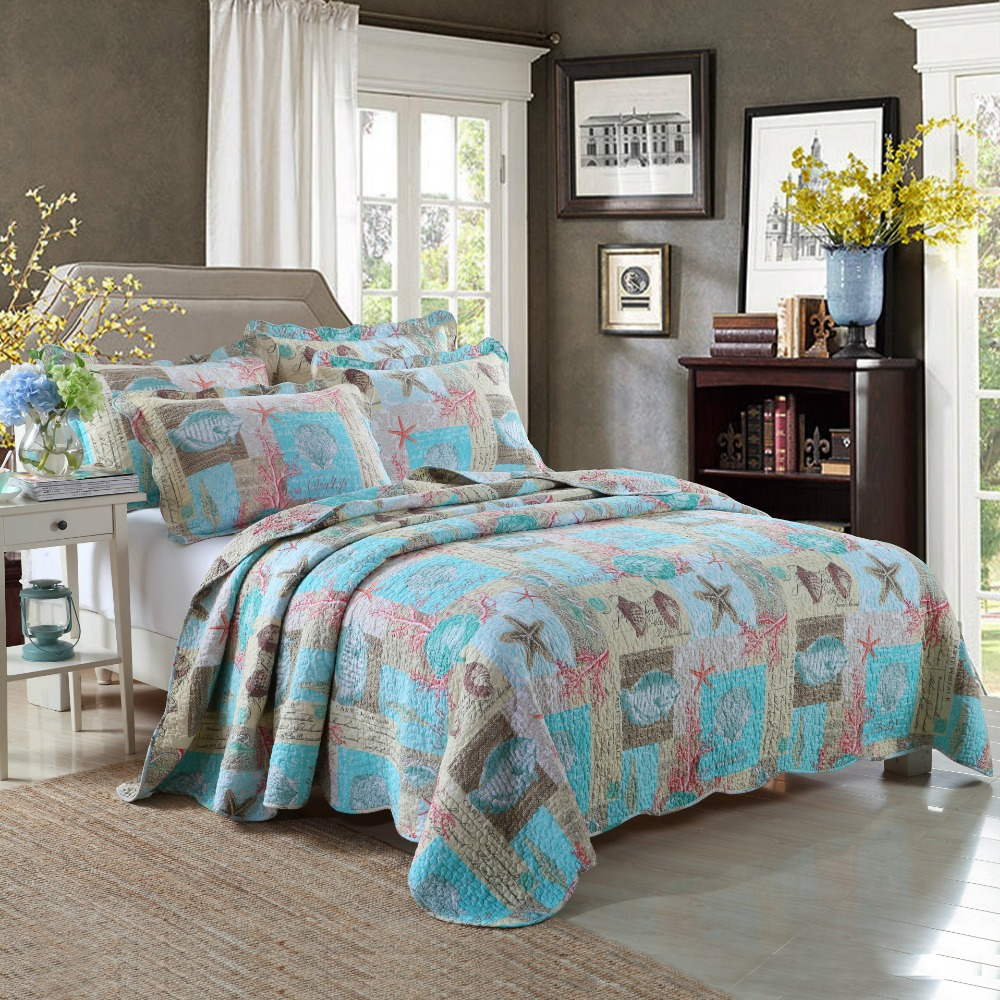 CHAUSUB Blue Ocean Style Quilt Set 3PCS Washed Cotton Quilts Quilted Bedspread Bed Cover Pillow Shams Printed Coverlet King SizeCHAUSUB Blue Ocean Style Quilt Set 3PCS Washed Cotton Quilts Quilted Bedspread Bed Cover Pillow Shams Printed Coverlet King Size