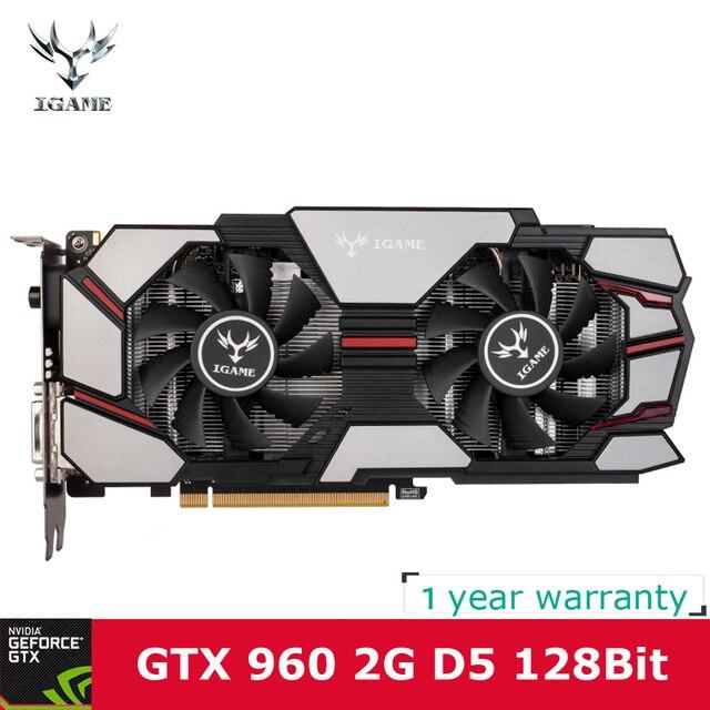 Красочные NVIDIA GeForce iGame gtx960 GPU 2 ГБ DDR5 128bit 2 * DVI + HDMI + DP Порты и разъёмы pci-e x16 3.0 ВИДЕО Графика карты для добычи Bitcoin